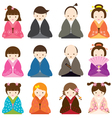 Japanese People dress in Traditional Costume Set vector image