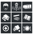 Camp for displaced persons Icons Set vector image