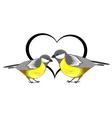 A couple of birds titmice with a heart vector image