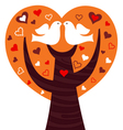 Birds couple in a orange heart tree vector image