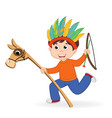 Boy playing in indian vector image