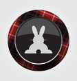 button red black tartan - rabbit rear view icon vector image