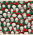 christmas party with group of people seamless vector image