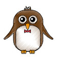 cute penguin with bowtie kawaii character vector image