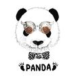 funny panda head steampunk vector image