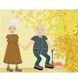 Senior couple walking in autumn day vector image