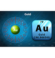 Symbol and electron diagram for Gold vector image