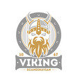 viking warrior isolated label with horned helmet vector image