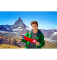 Young man tourist with map vector image