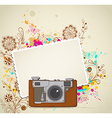 abstract vintage camera and flowers vector image