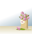 Pink tulips in brown paper bag vector image vector image