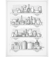 crockery on shelves vector image