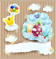 easter with chick and eggs on cardboard background vector image