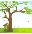 Funny monster under the summer tree reading book vector image