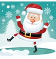 funny santa card happy white pine snowflakes vector image