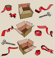 vintage ribbon and red delivery cardboard box vector image