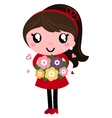 Retro Mom holding Flowers for Mothers day vector image vector image