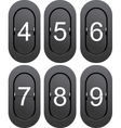 Numeric series 4 to 9 from mechanical scoreboard vector image