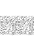 doodle summer beach seamless border vector image