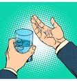 Medication health pills in hand vector image