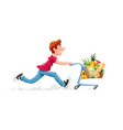 running boy with product cart vector image