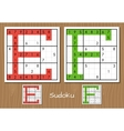 Sudoku set with answers E F letters vector image
