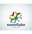 Christmas snowflake logo template vector image