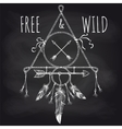 Tribal accessory with feathers on blackboard vector image