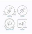 Graduation cap pushpin and diploma icons vector image