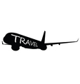 airplane with travel word on it vector image