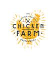 chicken farm label vector image