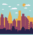color day city panorama silhouette vector image