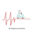 Emergency doctor traveling by car on ECG vector image