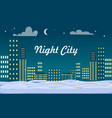 night city buildings snow on ground winter vector image