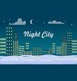 Night city buildings snow on ground winter vector image