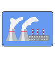 Power plant icon flat style in the frame vector image