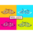 set big mustache of hipster life style wi vector image