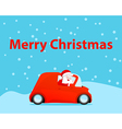 Santa drive car christmas card vector image