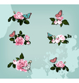 collection of roses with butterflies vector image