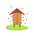 Bees Around Wooden Beehive Cartoon Farm Related vector image