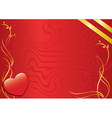 red card with heart and golden ribbons vector image vector image