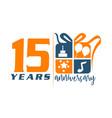 15 year gift box ribbon anniversary vector image