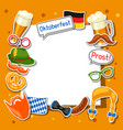 oktoberfest frame with photo booth stickers vector image vector image