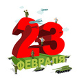23 February Patriotic celebration of military in vector image