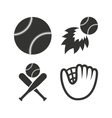 Baseball icons Ball with glove and bat symbols vector image