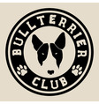 Bull terrier face Bull terrier club badge vector image