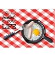 Fried eggs and sausage on pan food ingredients vector image