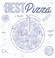Pizza with salami on a notebook page vector image