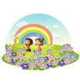 Kids in a field chasing insects vector image