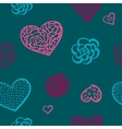doodle seamless pattern of hearts vector image